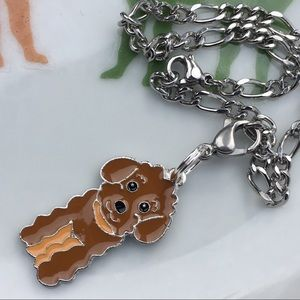 Jewelry - Brown poodle clip charm- stainless steel bracelet